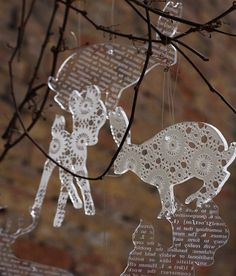 Items similar to Lot of 6 transparent acrylic plexiglass DOILY silhouette ORNAMENTS (Bambi, bird, deer, rabbit or seahorse) on Etsy Laser Cutter Ideas, Laser Cutter Projects, Laser Cnc, Christmas Crafts, Christmas Decorations, Plexiglass, Digital Fabrication, Plexus Products, Laser Engraving