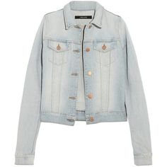 J Brand Stretch-denim jacket ($130) ❤ liked on Polyvore featuring outerwear, jackets, tops, coats, light denim, stretch denim jacket, distressed jacket, j-brand jacket, j brand and light blue jacket