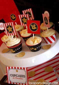 Hollywood Birthday Party Printable Cupcake Toppers by Fara