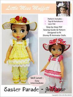Little Miss Muffett Easter Parade Doll Clothes Pattern Disney Animator Dolls | Pixie Faire