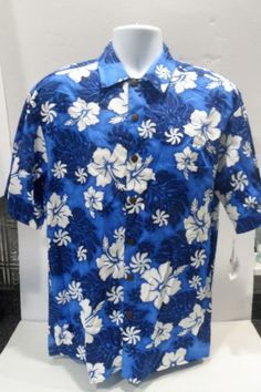 Hilo-Hattie-Hawaiian-Shirt-Classic-Aloha-Large-Blue-White-Hibiscus-Palm-Leaf-New