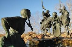 "In the 1800s, the Wichita Falls, Texas area was home to the Wichita Indians. A small waterfall near their village is thought to be the origin of the city's name. A life-sized sculpture by local artist Jack Stevens depicts the legend, telling how an Indian brave sent his squaw into the river to find a shallow place to cross. When she said ""wee chi tah"" meaning ""waist deep"" – she had found the best spot."