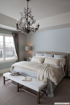Love the chandelier and the calm colors. Might like to try in a very pale sand color. So serene.