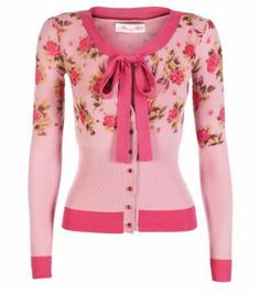 Tea Time!! Love this Pink Rose Cardigan with a bow:: Vintage Fashion:: Retro style:: Pin Up Girl Fashion