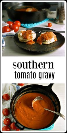Best Tomato Recipes Southern Tomato Gravy may have originated to keep the belly from touching the spine but it's a traditional and delicious way to use those end of summer tomatoes! Best of all, it's about 15 minutes to make! Tomato Gravy, Tomato Sauce, Tomatoe Gravy Recipe, Southern Dishes, Southern Recipes, Southern Food, Southern Style, Caprese Salat, Summer Tomato
