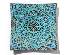 mandala bowl  textured ceramic plate  turquoise  by GVEGA on Etsy, €55.00