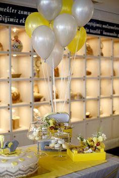 Birthday grey & yellow party ideas