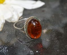 Vintage Deco Signed 925 Sterling Silver Amber Stone Dome Cocktail Ring Jewelry #Unbranded #Cocktail