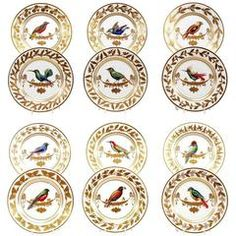 Set of 12 Rouard French Hand-Painted Ornithological Cabinet Plates, after Sevres
