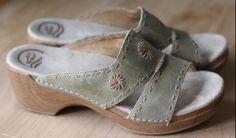 DANSKO Sage Green Tan Leather Slip On Sandals Women 40 9.5-10 #Dansko #Slides sold