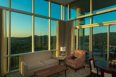 High ceilings and sweeping views!