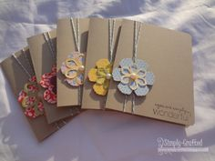 handmade cards ... notecard set ... formula: kraft card base, two-layer die cut flower,  baker's twine + sentiment ... lovely cards ... Stampin' Up!