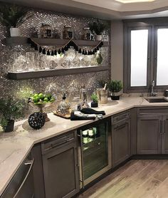 "37.4k Likes, 434 Comments - Interior Design & Home Decor (@inspire_me_home_decor) on Instagram: ""When your basement kitchen has sparkly backsplash  @sumhouse_sumwear"""