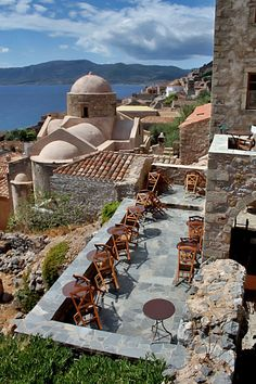 Having a nice brunch on this patio in Monemvasia, Greece would be nice I guess Places Around The World, Oh The Places You'll Go, Travel Around The World, Places To Travel, Places To Visit, Around The Worlds, Time Travel, Patras, Monemvasia Greece