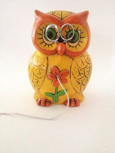 Vintage Owl String Holder Ceramic 70s Kitsch by PoolhausVintage