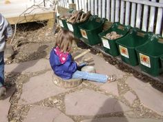 storage idea for loose materials outdoors - horse feed buckets from Tractor Supply store Eyfs Outdoor Area, Outdoor Play Areas, Outdoor Fun, Outdoor Ideas, Outside Playground, Preschool Playground, Playground Ideas, Outdoor Learning Spaces, Outdoor Activities For Kids
