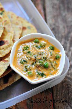 Peas fenugreek leaves and cashew cream come together in this popular Punjabi recipe - Methi Matar Malai. Veg Recipes, Indian Food Recipes, Vegetarian Recipes, Cooking Recipes, Ethnic Recipes, Indian Desserts, Malai Recipe, Tikka Recipe, Kurma Recipe