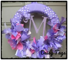 Baby Girl Wreath in Lavender Purples & Pinks ribbons for Hospital Door Hanger, bridal shower, baby shower, birthday party. $60.00, via Etsy.