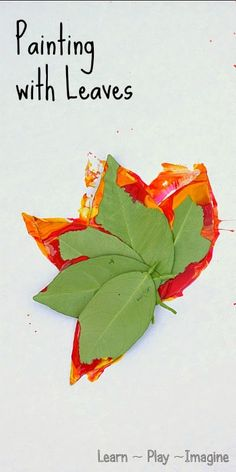 Art activity for fall - homemade leaf paint brushes