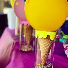 Geburtstag 🍦How fun are these Ice Cream Cone centerpieces? Made with a glass vase, real waffle con Birthday Party Centerpieces, Birthday Party Themes, Girl Birthday, Birthday Ideas, Ice Cream Decorations, Diy Party Decorations, Ice Cream Balloons, Party Banner, Diy Ice Cream