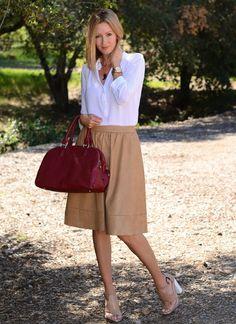 OOTD: Faux Leather Midi Skirt