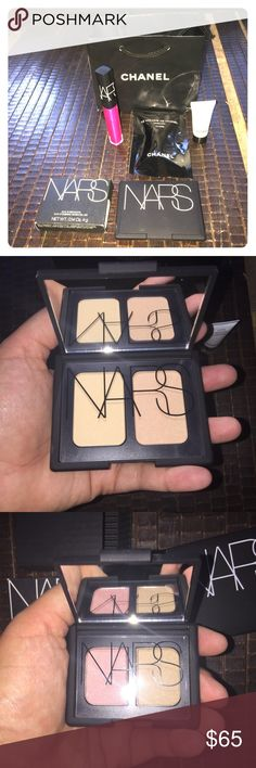 """24 SALE! NEW NARS bundle and CHANEL Make-up Bundle All items have never been used. This bundle comes with a CHANEL mini sample mascara 10 Noir (1 ml), a CHANEL sample Hydra Beauty Creme (5 ml), a CHANEL bag, a NARS Lip Gloss (.18 oz) in """"Easy Lover,"""" a NARS Duo Eyeshadow (.14 oz) in """"Hula Hula,"""" and a NARS Duo Blush (.35 oz) in """"Hungry Heart."""" These were a gift and I'm honestly not going to use them, not my colors. All NARS are full sized. This is a great deal, don't miss out! Offers…"""