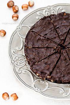Chocolate cake with prunes and hazelnuts