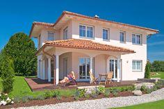 Außen ein gemütliches Toskana Haus, innen modern gestaltet ist das Haas Musterhaus in Poing.