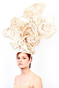 Wearable Sculpture - 3D headpiece with elaborate woven structure; sculptural fashion design // Stephanie Bila