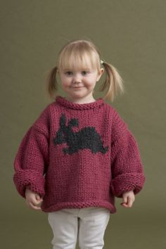 Free Knitting Pattern: Child's Bunny Motif Pullover