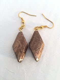 Gold Metallic Brown Dangle Earrings by MadlyUnique on Etsy