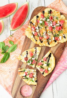 This watermelon feta flatbread is a unique menu item for summer entertaining.
