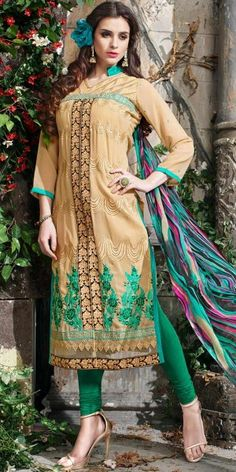Charming Cream And Green Georgette Salwar Suit With Dupatta.