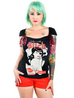 """Women's """"Relax With A Bitch"""" Shock Tee by Too Fast (Black) #InkedShop #relax #bitch #top #graphictee"""