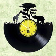 Giraffe and Elephant HANDMADE Vinyl Record Wall Clock - Get unique living room wall decor