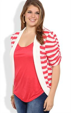 plus elbow sleeve striped cozy 2fer with dyed to match inset