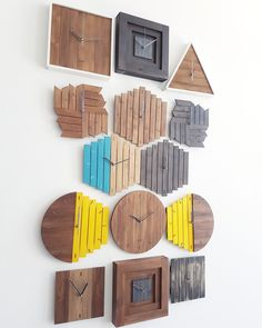 A collection of our handmade wooden wall clocks