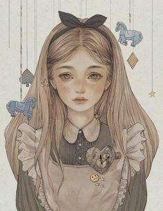 alice in wonderland drawing / alice in wonderland Cartoon Kunst, Cartoon Art, Disney Kunst, Disney Art, Art Drawings Sketches, Cute Drawings, Pretty Art, Cute Art, Art And Illustration
