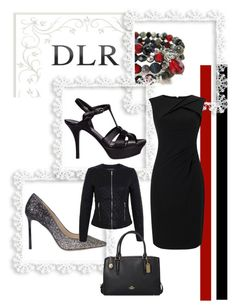 """DLRboutique.com"" by jillsjoyagol ❤ liked on Polyvore featuring Jimmy Choo, Yves Saint Laurent, Miss Selfridge, Adrianna Papell, Coach and agiftoflaughterjewelry"