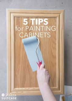 Stepbystep tutorial showing you how I painted my bathroom cabinets without sanding them! I& also sharing 5 tips for painting any cabinets in your home! - diy-home-decor Home Renovation, Home Remodeling, Painting Bathroom Cabinets, Paint For Bathroom Cabinets, Painting Cabinet Doors, Bathroom Sinks, Painting Honey Oak Cabinets, Refinish Bathroom Vanity, Bathroom Cabinet Redo