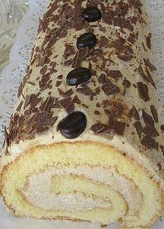 Biskuitrolle mit Kaffeecreme Swiss roll with coffee cream 8 Cake Recipes, Dessert Recipes, Dessert Blog, German Cake, Homemade Dinner Rolls, Coffee Cream, Food Cakes, Health Desserts, Coffee Recipes