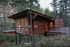 Wooden cabin in Montana, featuring passive heating and cooling, living small off the grid