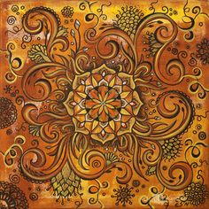 Mandala art original abstract painting, yoga art, yelow, orange, home decor, by Egle Stripeikiene