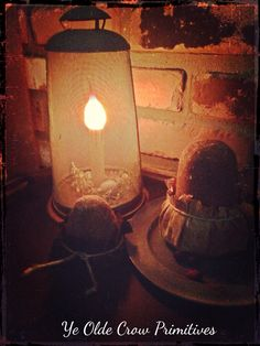 Early looking Colonial Sugar cones I made  and a fly screen lamp. Gathering by: Ye Olde Crow Primitives