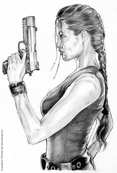 TOMB RAIDER - Angelina Jolie by tomjogi on DeviantArt This is one of my favourites: a pencil drawing of my favourite actress, Angelina. I just had to draw her. This is my first deviation, but surely n Art Drawings Beautiful, Cool Art Drawings, Pencil Art Drawings, Girl Pencil Drawing, Realistic Pencil Drawings, Easy Drawings, Girl Drawing Sketches, Girly Drawings, Drawing Ideas