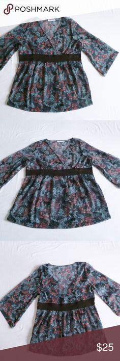 """Sheer kimono blouse tunic top Sheer textured polyester fabric.  I had to remove the size tag because it was showing through. Iit's European XL, which is a US 14, but I've been wearing it, and I'm a 12, and it looked good too, if you like to wear ample clothes. Bust width (black ribbon): 20""""  In very good condition, worn several times La Redoute / Taillissime Tops Blouses"""