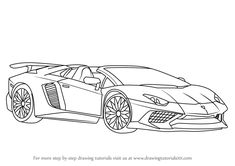 lamborghini sv Learn How to Draw Lamborghini Aventador SV Roadster (Sports Cars) Step by Step : Drawing Tutorials Lamborghini Veneno, White Lamborghini, Lamborghini Aventador Roadster, Monster Coloring Pages, Cars Coloring Pages, Cool Car Drawings, Dbz Drawings, Mustang Drawing, Man Cave Accessories