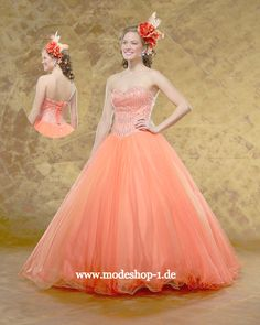 Quinceanera Event Mode Ballkleid Brautkleid Waigeo Apricose www.modeshop-1.de