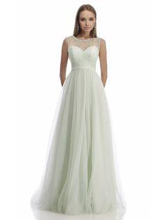 A-Linie/Princess-Stil Ärmellos U-Ausschnitt Bodenlang Tülle Perlenstickerei Kleider