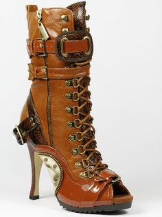 Cognac Open Toe High Heel Funky Mid Calf Fashion Boot Anne Michelle Bit on the fence here but think they could make the right outfit pop. Steampunk Shoes, Steampunk Fashion, Crazy Shoes, Me Too Shoes, Nylons, Over Boots, Open Toe High Heels, Stylish Boots, Killer Heels